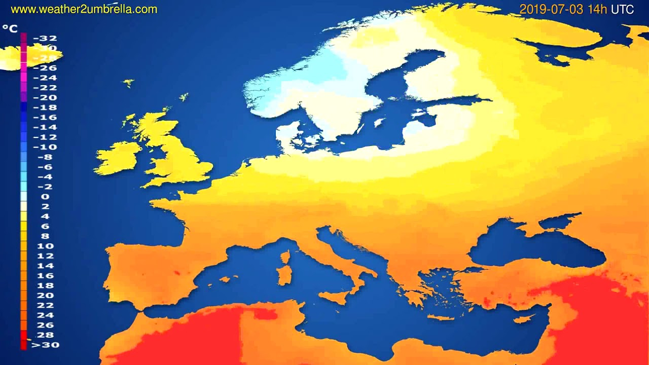 Temperature forecast Europe // modelrun: 12h UTC 2019-06-30