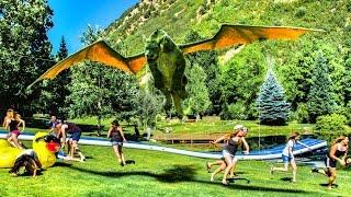 Human Zipline Slip and Slide with Pete's Dragon! | DEVINSUPERTRAMP