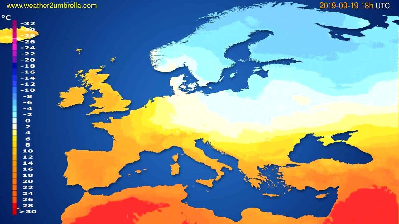 Temperature forecast Europe // modelrun: 12h UTC 2019-09-16