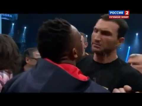 Dereck Chisora spits water at Wladimir Klitschko Video