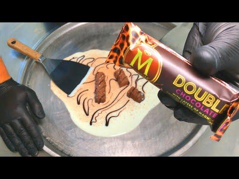 MAGNUM Ice Cream Rolls | how to make Magnum Double Chocolate Ice Cream - rolled Ice Cream recipe