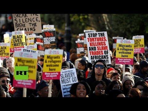 Cientos de personas protestan en Londres contra la trata de personas en Libia