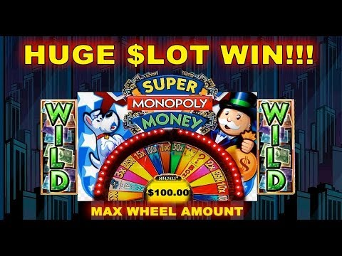 ★ HUGE WIN JACKPOT ★ WMS – Super Monopoly Money Slot Wheel Bonus Spins 5 CENT Machine