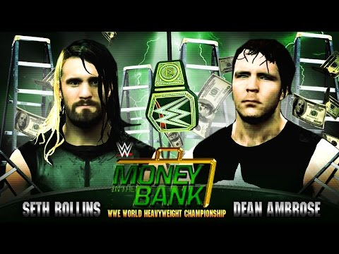 Money in the Bank 2015 - Seth Rollins vs Dean Ambrose - WWE Championship - WWE 2K15 Mods:  WWE Money in the Bank 2015 - Seth Rollins vs Dean Ambrose for the WWE World Heavyweight Championship. Can Dean Ambrose become the real holder of the WWE championship that he stole from Seth Rollins at the elimination chamber PPV? And can Seth prove himself as the face of the WWE without the help of J & J security?Find out tonight on PPV and the WWE Network as these 2 huge superstars collide in this mega main event at the Money in the Bank PPV!This match is played in WWE 2K15 and is a prediction video, the video is edited into highlights and contains custom made music and no original renditions. The video also makes use of both the PC version and PS4 version of WWE 2K15. The entrances and 50% of the gameplay are on the PC version (this is why you will see updated hair styles and WWE title, as these are mods) the second half of the match is played through on the PS4 version. This is because i had some strange glitches in the ladder match for the pc, down to mass mod installation (lol)Modded WWE title by Pherby. Modded Dean Ambrose hair style by Bannockburn.Be sure to leave your prediction in the comments below, who walks away and wins the WWE  title, Rollins or Ambrose?Music :Rollins and Ambrose custom themes by JaydeGarrow (No samples) http://www.youtube.com/jaydegarrowMusic played throughout match :