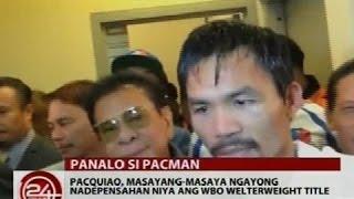 Pacquiao, masaya sa kinalabasan ng kanyang laban kontra kay Algieri