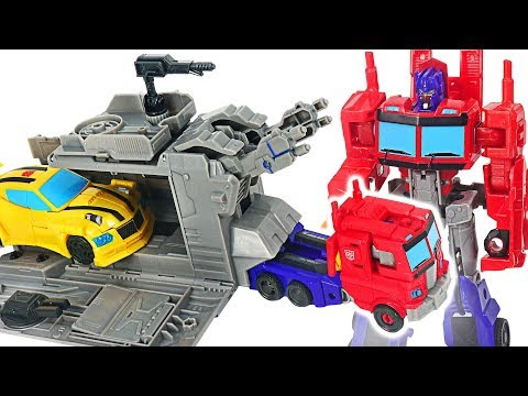 Transformers Cyberverse Warrior Class Optimus Prime with Battle Base Trailer! #DuDuPopTOY