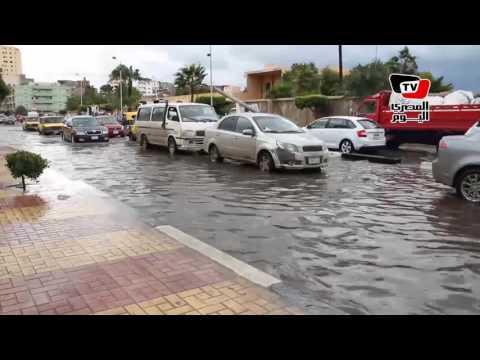 غرق شارع طوسون بمنطقة أبو قير نتيجة الأمطار