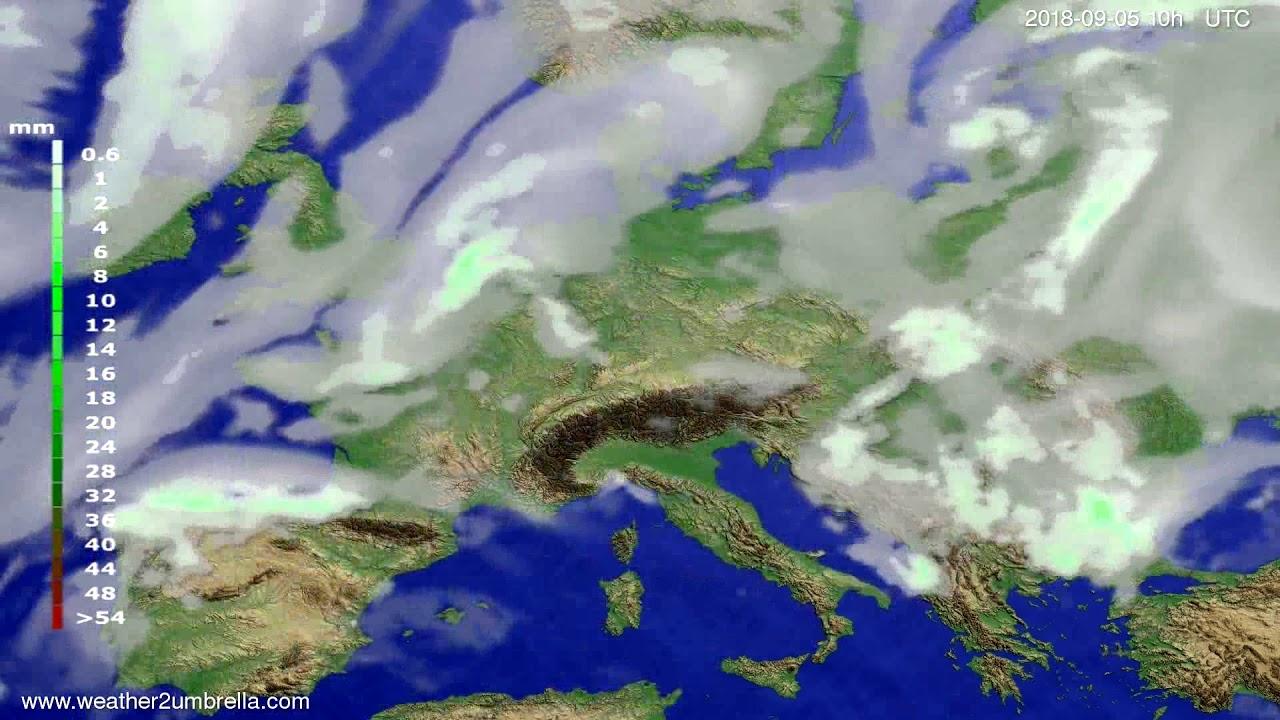 Precipitation forecast Europe 2018-09-03