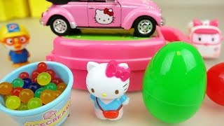 Hello Kitty bag house and car toys playing with surprise eggs
