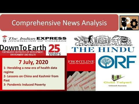 Comprehensive News Analysis  The Hindu, Indian Express, EPW,  DTE, ORF 7 July, 2020  Civils Taiyari