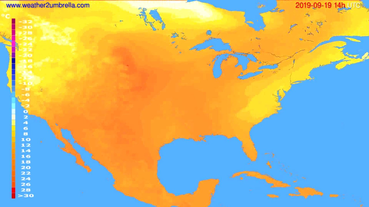 Temperature forecast USA & Canada // modelrun: 12h UTC 2019-09-16
