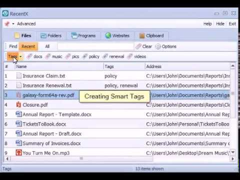 Tagging files, folders, programs, websites etc in Windows using RecentX