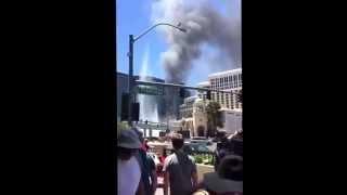 Video of the fire of the Cosmopolitan, Las Vegas, pool deck. Seen from Las Vegas Blvd.