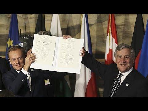 60 χρόνια μετά την ιδρυτική Συνθήκη, οι 27 ηγέτες της Ε.Ε  υπέγραψαν τη Διακήρυξη  της Ρώμης -…