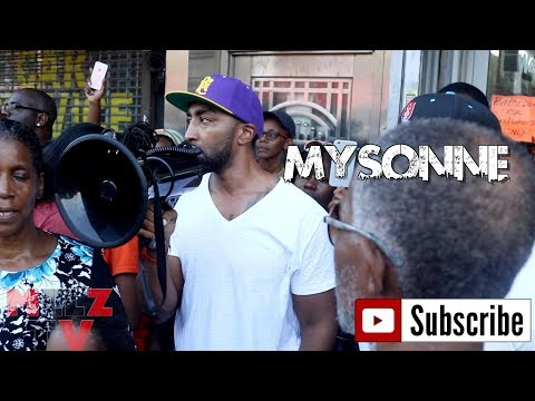 MYSONNE SPEAKS AT NAIL SALON PROTEST IN FLATBUSH BROOKLYN