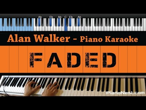Alan Walker - Faded - LOWER Key (Piano Karaoke / Sing Along)