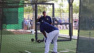 Yasiel Puig and Dodgers hitting coach Turner Ward spend extra time in the batting cages during Spring Training at Camelback Ranch working on Puig's swing. In 2016 Puig hit .263/.323/.740 with 11 home runs in 334 at-bats.Read me at http://dodgersdigest.com/author/staci...  and  http://www.hardballtimes.com/author/s...Follow me @StacieMWheeler on Twitter https://twitter.com/StacieMWheelerSubscribe to DishingUpTheDodgers!Go Blue!