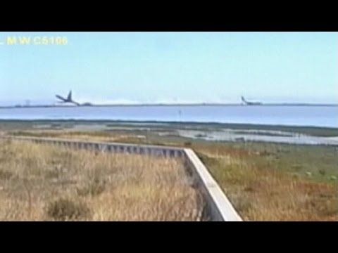 Caught - Video released by the NTSB shows the hard landing of Asiana Flight 214 at San Francisco International Airport.
