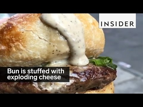 A Burger Bun That Explodes With Cheese When You Cut Or Bite