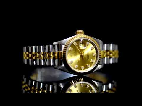 Lady's 18k Yellow Gold/Stainless Steel Rolex Datejust Automatic Wristwatch with Diamonds