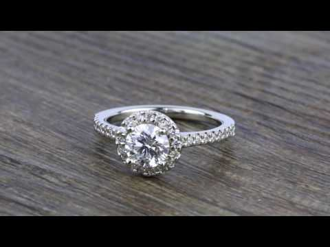 Pave Halo Diamond Engagement Ring in White Gold (0.73 ct.)