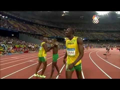 波特締造100公尺、200公尺、400公尺接力賽世界紀錄時的經典畫面!