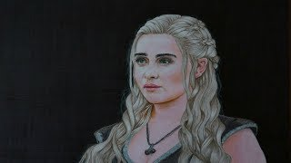 This video is a Time-lapse demonstration of drawing Daenerys Targaryen from Game of thrones using colored pencils.