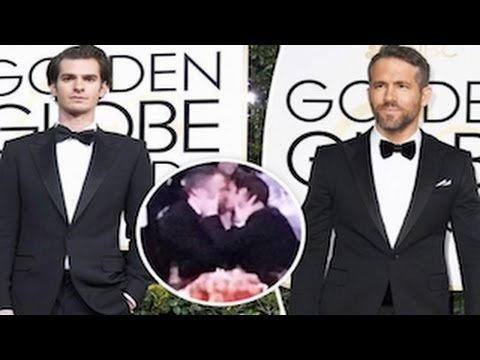 Golden Globes 2017- Ryan Reynolds And Andrew Garfield Kiss After Gosling Wins At Globes (видео)