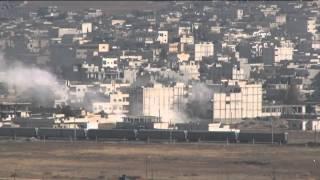 Kobani'de büyük patlamalar: IŞİD hedefleri böyle vuruldu (Canlı yayında peş peşe patlama anları)