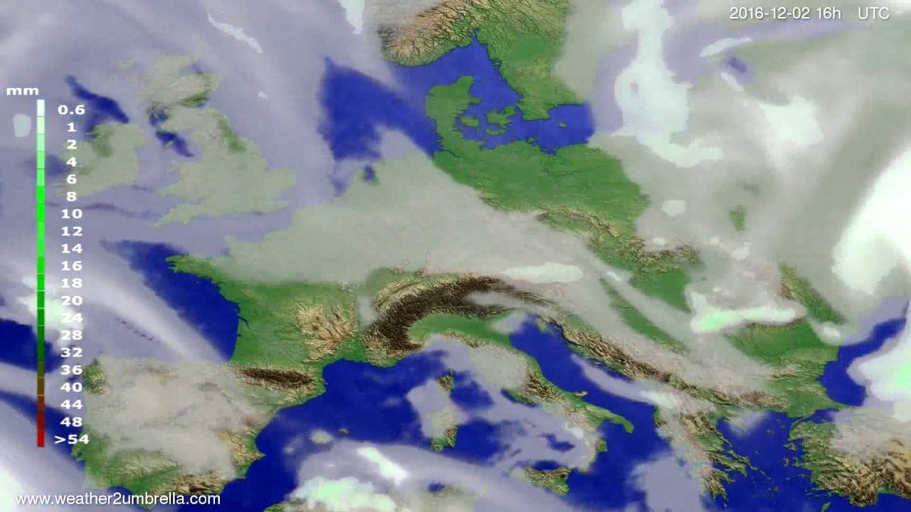 Precipitation forecast Europe 2016-11-29