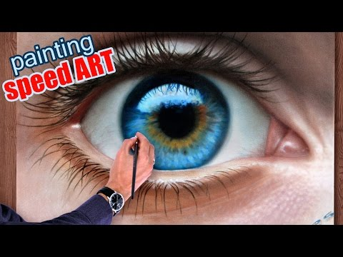 How To Draw a realistic Eye painting in dry brush (Speed Drawing) malen zeichnen