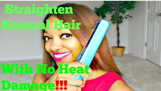 How To Straighten Natural (Color Treated) Hair with No Heat Damage or Frizzy Ends!!! 💋 - YouTube