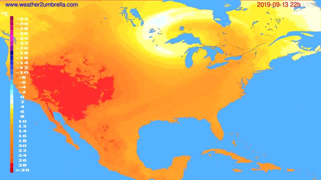 Temperature forecast USA & Canada // modelrun: 00h UTC 2019-09-11