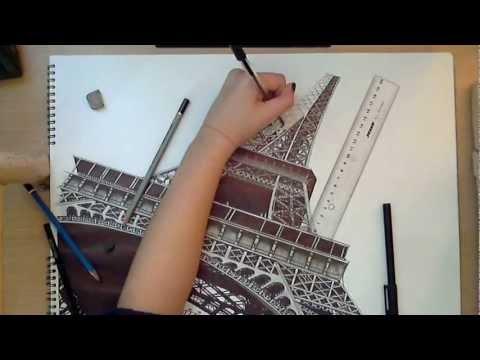 la torre eiffel, parigi - disegno realistico