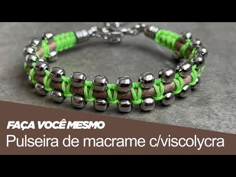 Tv Transamérica - Pulseira de macrame com viscolycra e brinco