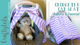 "Crochet Car Seat Cover - Free Pattern and Tutorial******I HOPE THE AUDIO IS FIXED NOW!Find Pattern here: http://craftytuts.com/crochet-car-seat-cover-free-pattern/CraftyTuts Etsy Store: https://www.etsy.com/shop/CraftyTutsFinally!!A while ago (year or two already) I made a car seat cover for my baby girl. I used someone else's pattern, but I did a modification to create a ""split"" that would allow me to easily open or close just one or both sides.I liked the idea of a split flap instead of a big one because that way I wouldn't have to open it completely to check if my baby was OK, asleep, awake, etc (You get the idea).Also, if I wanted to cover my baby from the sun, but only one side is needed, I wouldn't have to cover her completely if it wasn't necessary."
