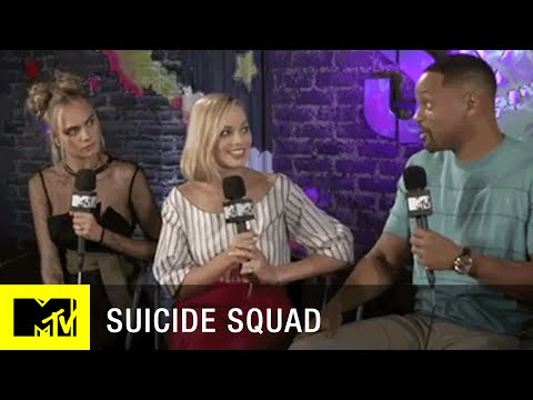 Suicide Squad Cast Interview:  Cara Delevingne, Margot Robbie, Will Smith, and Joel Kinnaman