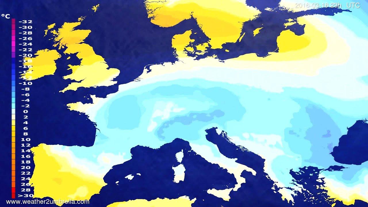 Temperature forecast Europe 2016-03-13