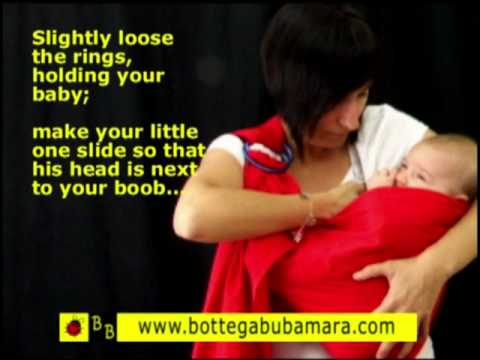 Breastfeeding wearing a baby ring sling. Tutorial how to breastfeed baby ring sling newborn