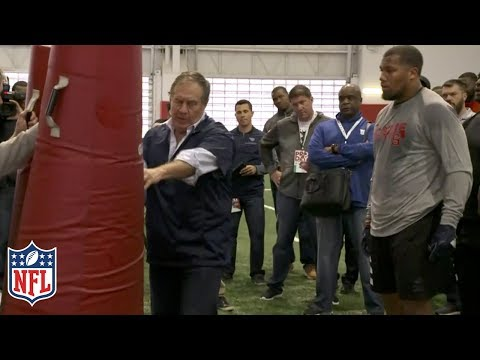 Video: Bill Belichick Coaches Bradley Chubb at NC State Pro Day | NFL Highlights