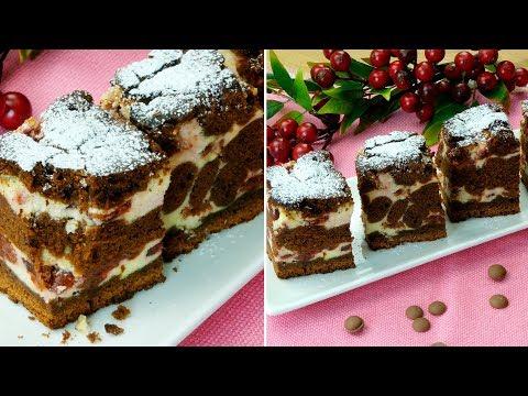 Brownie cu brânză și vișine-cel mai delicat desert ciocolătos, se prepară ușor și e foarte delicios!
