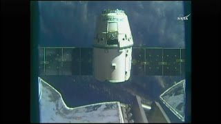 Time lapse of the NASA TV feed of the release of the SpaceX Dragon CRS-10 spacecraft from the Node 2 module (