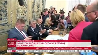 Reforma Sądownictwa - obstrukcja opozycji - Polska posiedzenie Komisji Sprawiedliwości 19.07.2017.