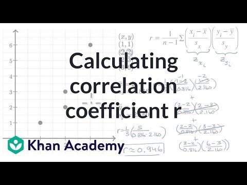Calculating Correlation Coefficient R Video Khan Academy