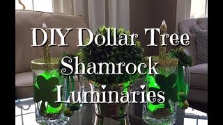 DIY Dollar Tree Shamrock Luminaries St. Patricks Day Howto