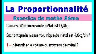 Maths 5ème - La proportionnalité volumes Exercice 1