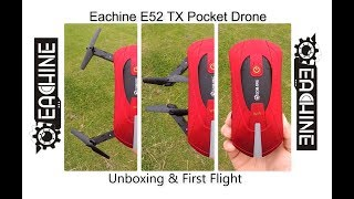 First look and flight for the new Eachine E52-TX Pocket Drone. This is an FPV camera drone with altitude hold and stabilisation. This model comes with a transmitter and phone holder. The video feed is HD and the craft can fly for approx 8 minutes on a single charge.Thanks again for Eachine for sending me this product, if you're interested please take a look blow to purchase this product.Eachine Homepage:http://bit.ly/2trZ8YTEachine E52 WiFi FPV With High Hold Mode Foldable Arm RC Quadcopter: http://bit.ly/2rXs6mBYou can buy it from Eachine Amazon shopFrequency : 2.4GChannel : 4CHGyro : 6 axisProduct battery : 3.7V 500mAh (Included)Charging time : 60-70minsFlying time : 8-10minsR/C distance : 80-100mColor : Red and blackCamera : 0.3MPMaterial : Electronic Components,PlasticQuad's size : 25.5x25.5x3.5cm (the arms not folded)Package size : 17.2x9.2x6cmI hope you enjoy this video and remember to like, subscribe, and share this video around. I'll see you next time!Jake Billing's Facebook Page Here: https://www.facebook.com/jakebillingonyoutube/