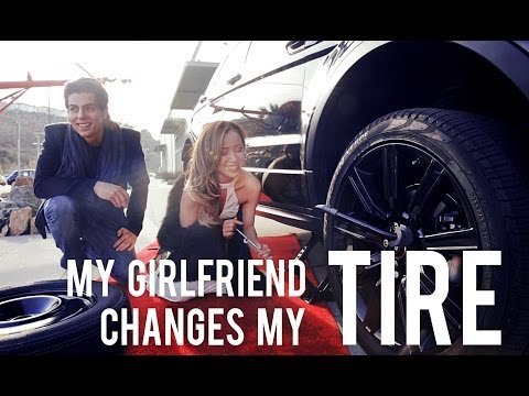 Girlfriend Changes Boyfriend%27s Tire