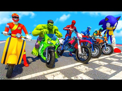 SPIDERMAN & POWER RANGERS w/ ALL SUPERHEROES Racing Motorcycles Event Day Competition Challenge #111