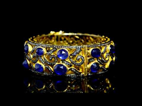 925 Silver With Yellow Gold Plating Polki Diamond and Blue Sapphire Bangle
